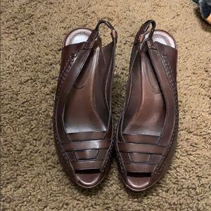 Frye size 6.5 women's brown leather wedge